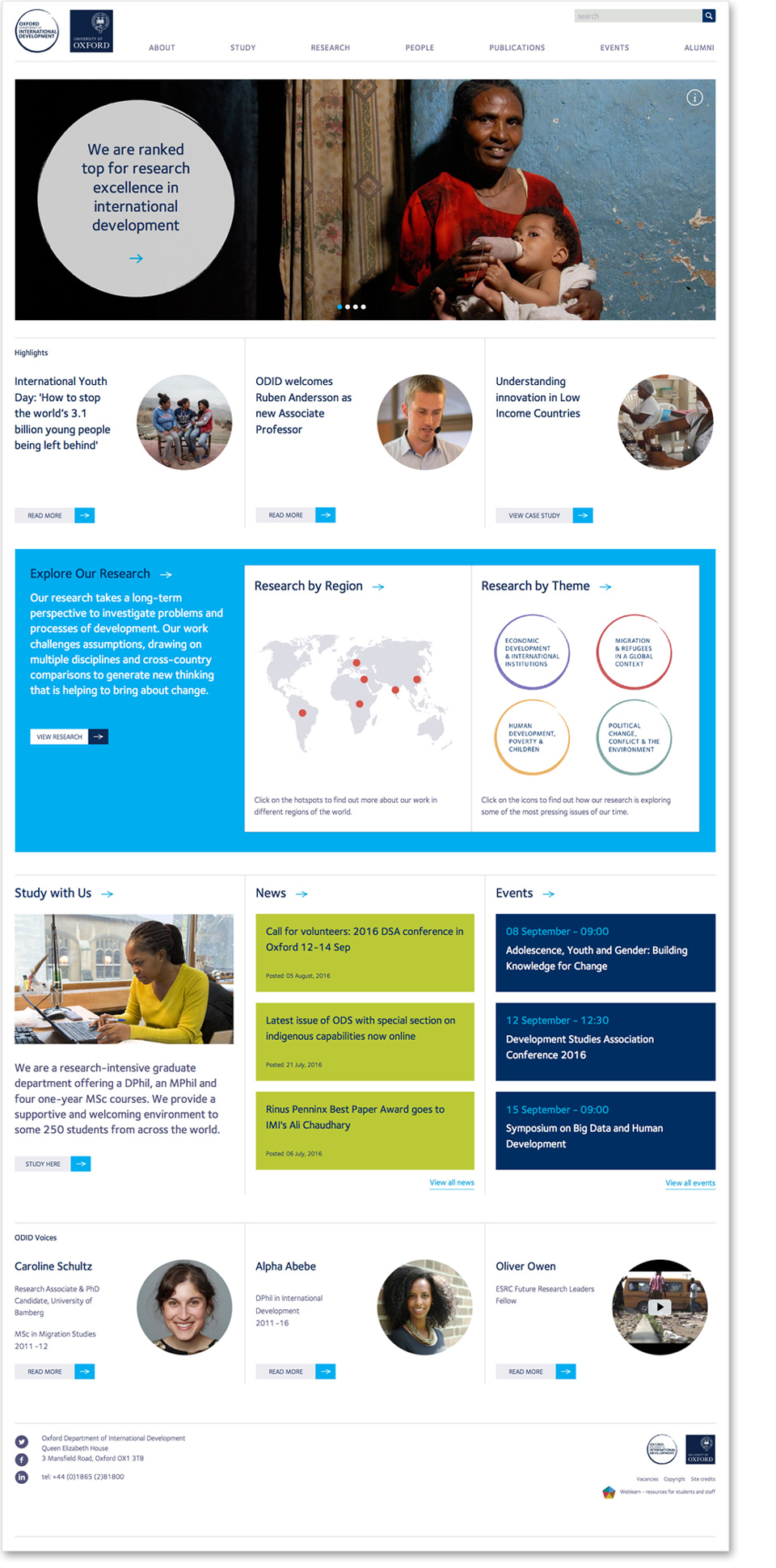 ODID website design - homepage