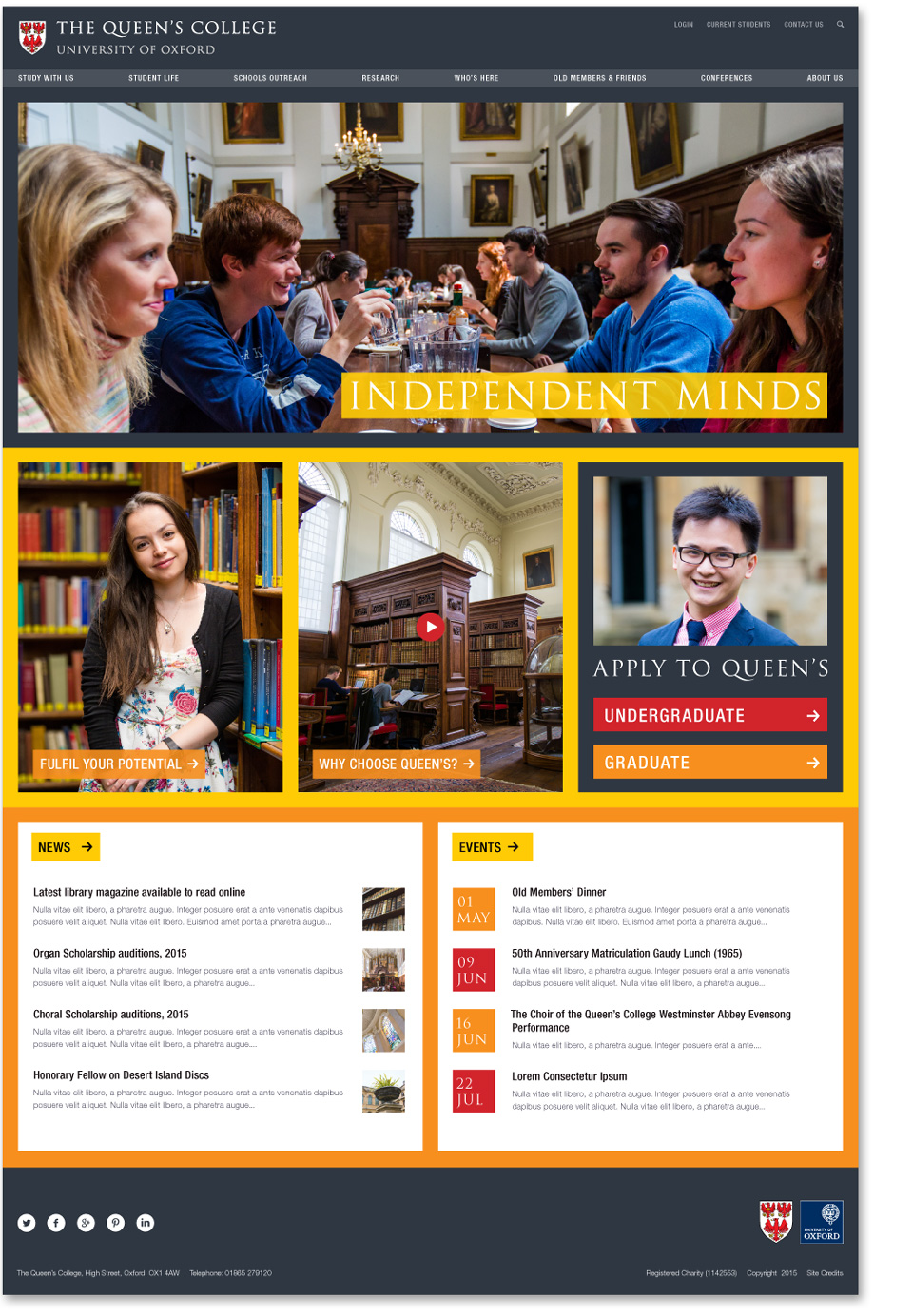 Queen's College homepage design